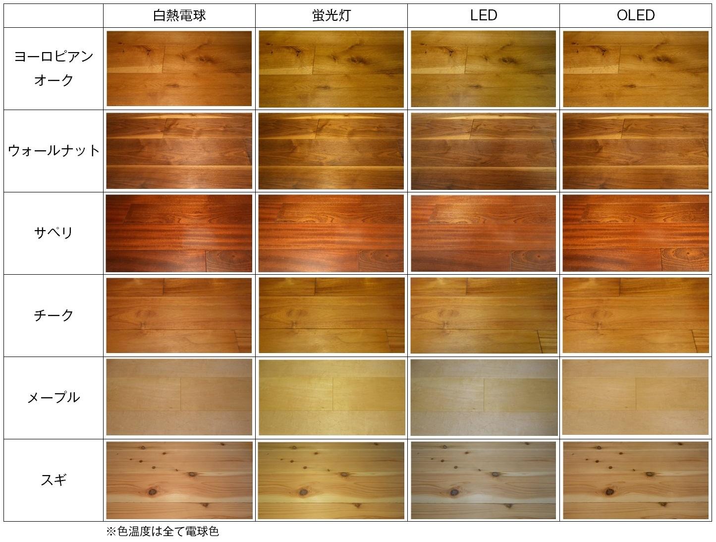 光源の種類による差